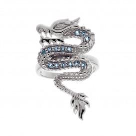 Bague en argent massif rhodié et topazes bleues Dragon
