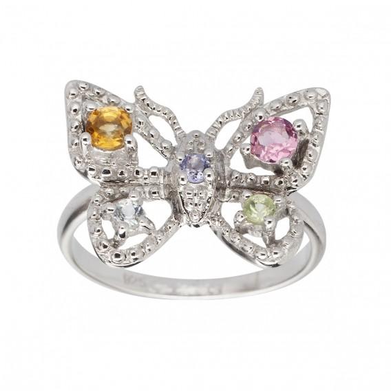 Bague papillon en argent massif rhodié citrine tanzanite péridot topaze et tourmaline Butterfly