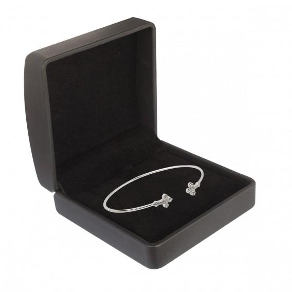 Bracelet jonc ouvert en argent massif rhodié et topazes bleues Croix Bernadette