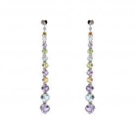 Boucles d'oreilles pendantes en argent massif rhodié topazes améthystes citrine péridots Riviera