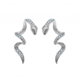Boucles d'oreilles grimpantes en argent massif rhodié et topazes bleues Serpent Amazonia