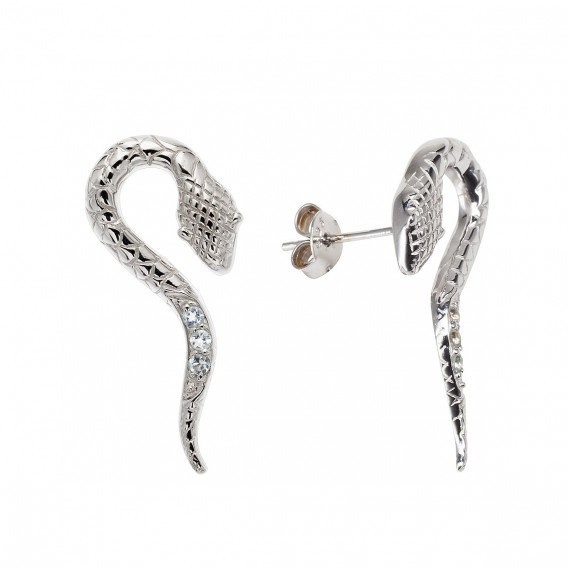 Boucles d'oreilles serpent en argent massif rhodié et topazes bleues Tropico