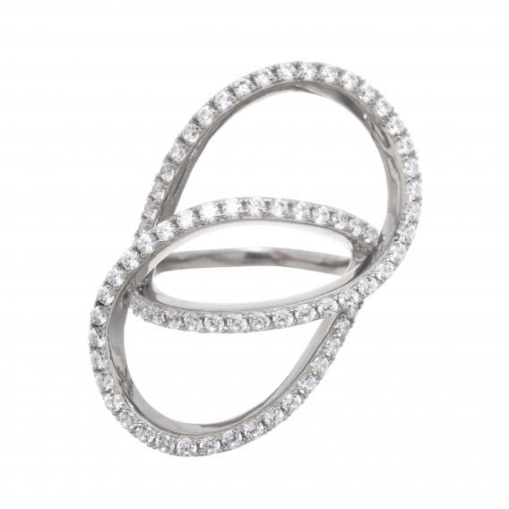 Bague anneaux entrelacés en argent massif rodhié et zircon Bianca