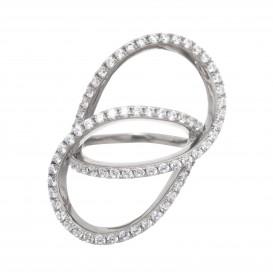 Bague anneaux entrelacés en argent massif rhodié et zircon Bianca