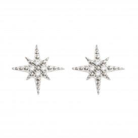 Boucles d'oreilles puce étoile rhodié et zircon Inès