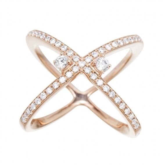 Bague anneaux croisés plaqué Or Rose 14K sur argent massif et zircon Leonie