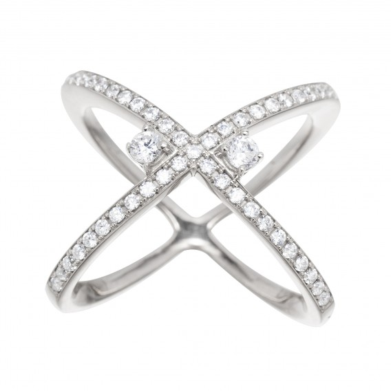 Bague anneaux croisés en argent massif rodhié et zircon Leonie