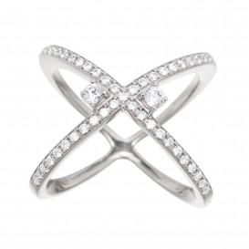 Bague anneaux croisés en argent massif rhodié et zircon Leonie