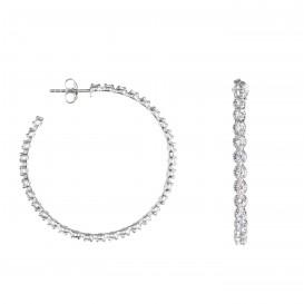 Boucles d'oreilles anneaux créoles Orion argent massif rhodié et zircon