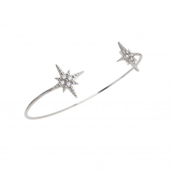 Bracelet jonc ouvert étoile en argent massif rhodié et zircon Vénus