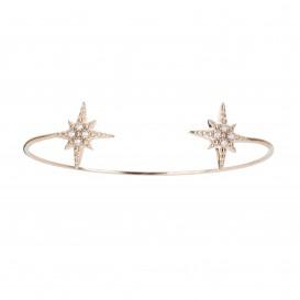 Bracelet jonc ouvert étoile Plaqué Or Rose 14K sur argent massif et zircon Vénus