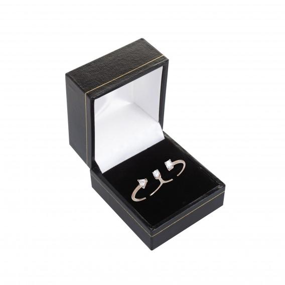 Bague double anneaux plaqué Or Rose 14K sur argent massif et zircon Cestina