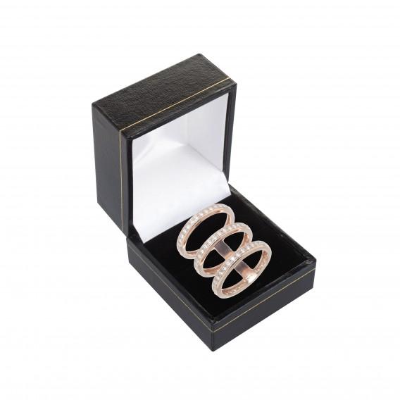 Bague trois anneaux plaqué Or Rose 14K sur argent massif et zircon Delta