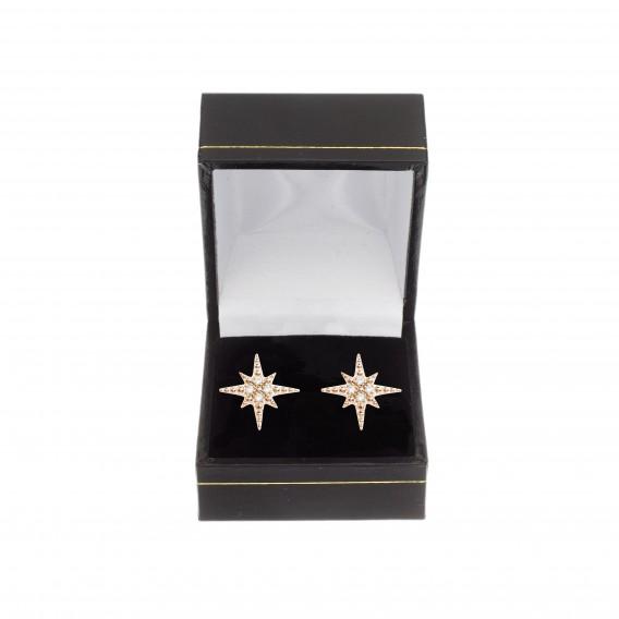 Boucles d'oreilles puce étoile plaqué Or Rose 14K sur argent massif et zircon Inès