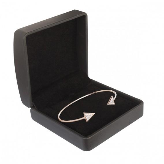 Bracelet jonc ouvert triangle plaqué Or Rose 14K sur argent massif et zircon Libra