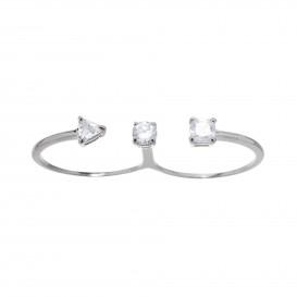 Bague double anneaux en argent massif rhodié et zircon Cestina