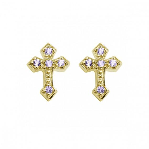 Boucles d'oreilles en argent massif plaqué Or 14K et améthystes Croix Bernadette