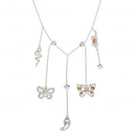 Collier charms papillon lézard serpent en argent massif rhodié citrine tourmaline topaze grenat améthyste et zircon Eva