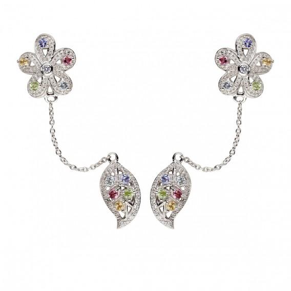 Boucles d'oreilles fleur et feuille double trous en argent massif rhodié topaze tourmaline tanzanite citrine et péridot Gaël