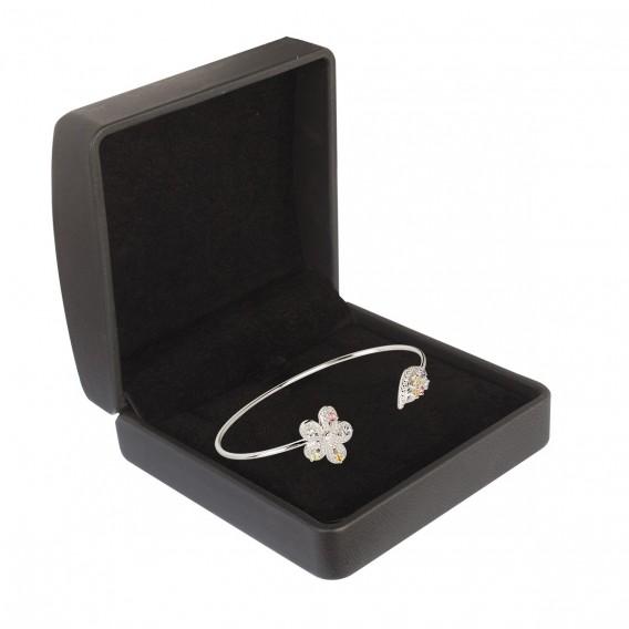 Bracelet jonc ouvert fleur et feuille en argent massif rhodié topaze tourmaline tanzanite citrine péridot et zircon Gaël