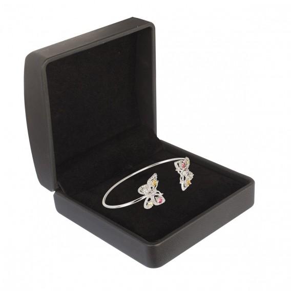 Bracelet jonc ouvert papillon en argent massif rhodié citrine tanzanite péridot topaze et tourmaline Butterfly