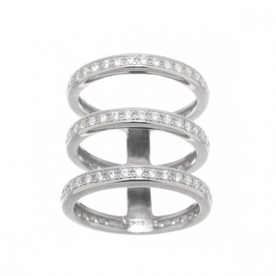Bague trois anneaux en argent massif rodhié et zircon Delta