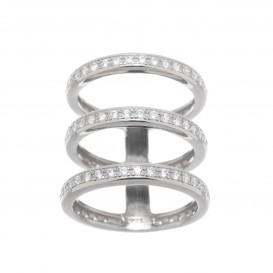 Bague trois anneaux en argent massif rhodié et zircon Delta