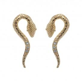 Boucles d'oreilles serpent plaqué Or 14K sur argent massif et améthystes Tropico