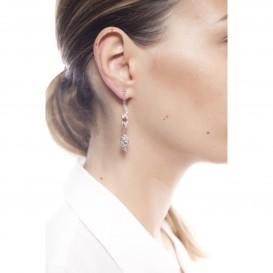 Boucles d'oreilles double face forme lézard et feuille en argent massif rhodié grenat et zircon Tiki