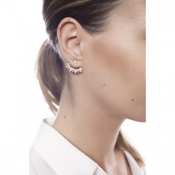 Boucles d'oreilles dessous lobe plaqué Or Rose 14K sur argent massif et zircon Altaïr