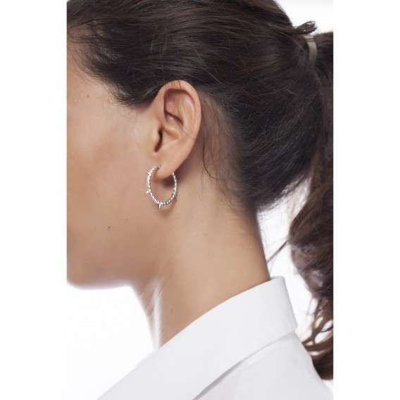 Boucles d'oreilles anneaux créoles argent massif rodhié et zircon Carolis
