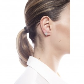 Boucles d'oreilles puce étoile rodhié et zircon Inès