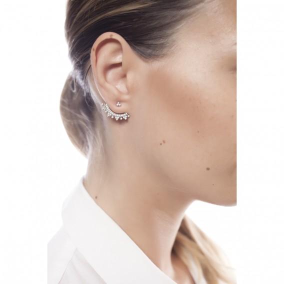 Boucles d'oreilles dessous lobe argent massif rodhié et zircon Altaïr