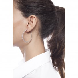 Boucles d'oreilles anneaux créoles Orion argent massif rodhié et zircon