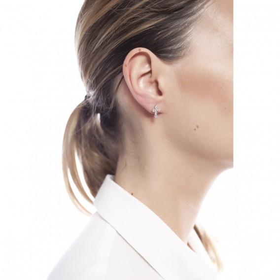 Boucles d'oreilles en argent massif rhodié et topazes bleues Croix Bernadette