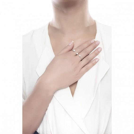 Bague double anneaux en argent massif rodhié et zircon Cestina