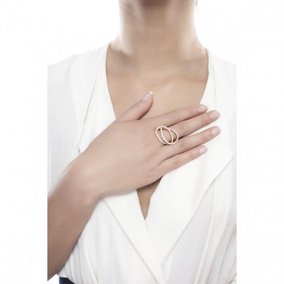 Bague anneaux entrelacés plaqué Or Rose 14K sur argent massif et zircon Bianca