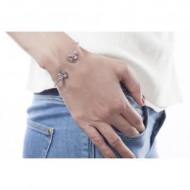 Bracelet jonc ouvert en argent massif rhodié et topazes bleues Dragon