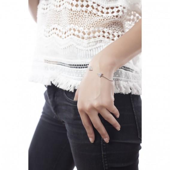 Bracelet jonc ouvert triangle en argent massif rhodié et zircon Libra