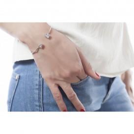 Bracelet jonc ouvert en argent massif rhodié et zircon Sunny