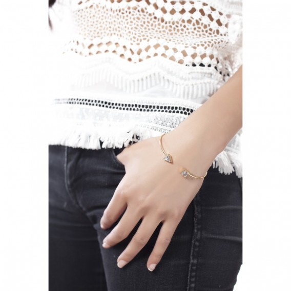 Bracelet jonc ouvert plaqué Or Rose 14K sur argent massif et zircon Sunny