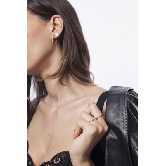 Boucles d'oreilles anneaux créoles plaqué Or Rose 14K sur argent massif et zircon Carolis