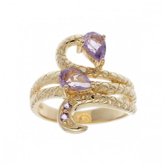 Bague plaqué Or 14K sur argent massif et améthystes violettes Serpent Boaring