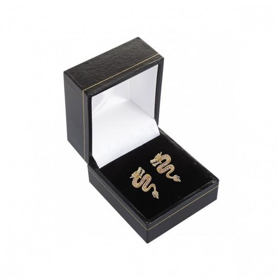 Boucles d'oreilles plaqué Or 14K sur argent massif et améthystes Dragon